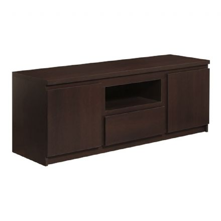 Pello 166 Cm 2 Door 1 Drawer Wide TV Cabinet in Dark Mahogany